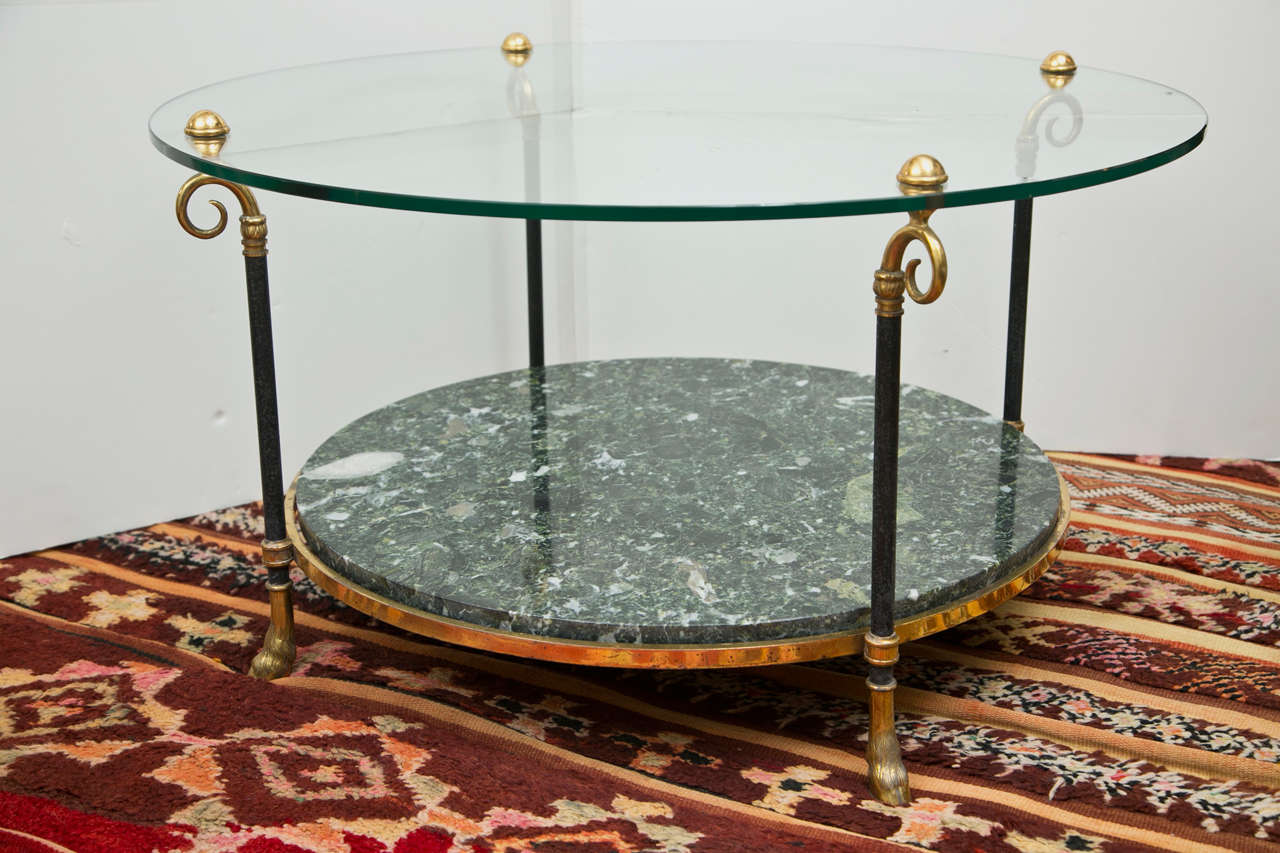 Maison Jansen Style Brass and Marble Cocktail Table 2