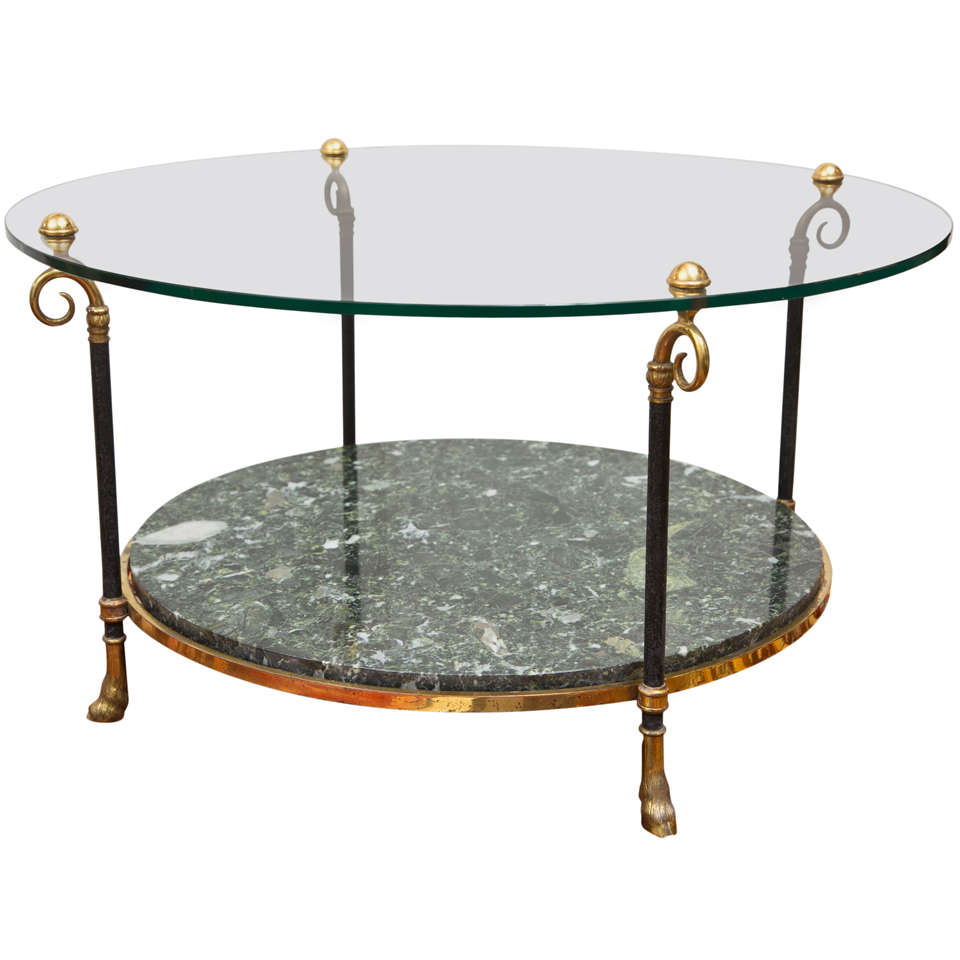 Florentine Marble And Brass Round Cocktail Coffee Table At: Maison Jansen Style Brass And Marble Cocktail Table For