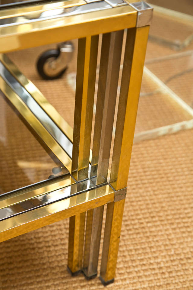 1970s French Brass and Chrome Rectangular Cocktail Table 5