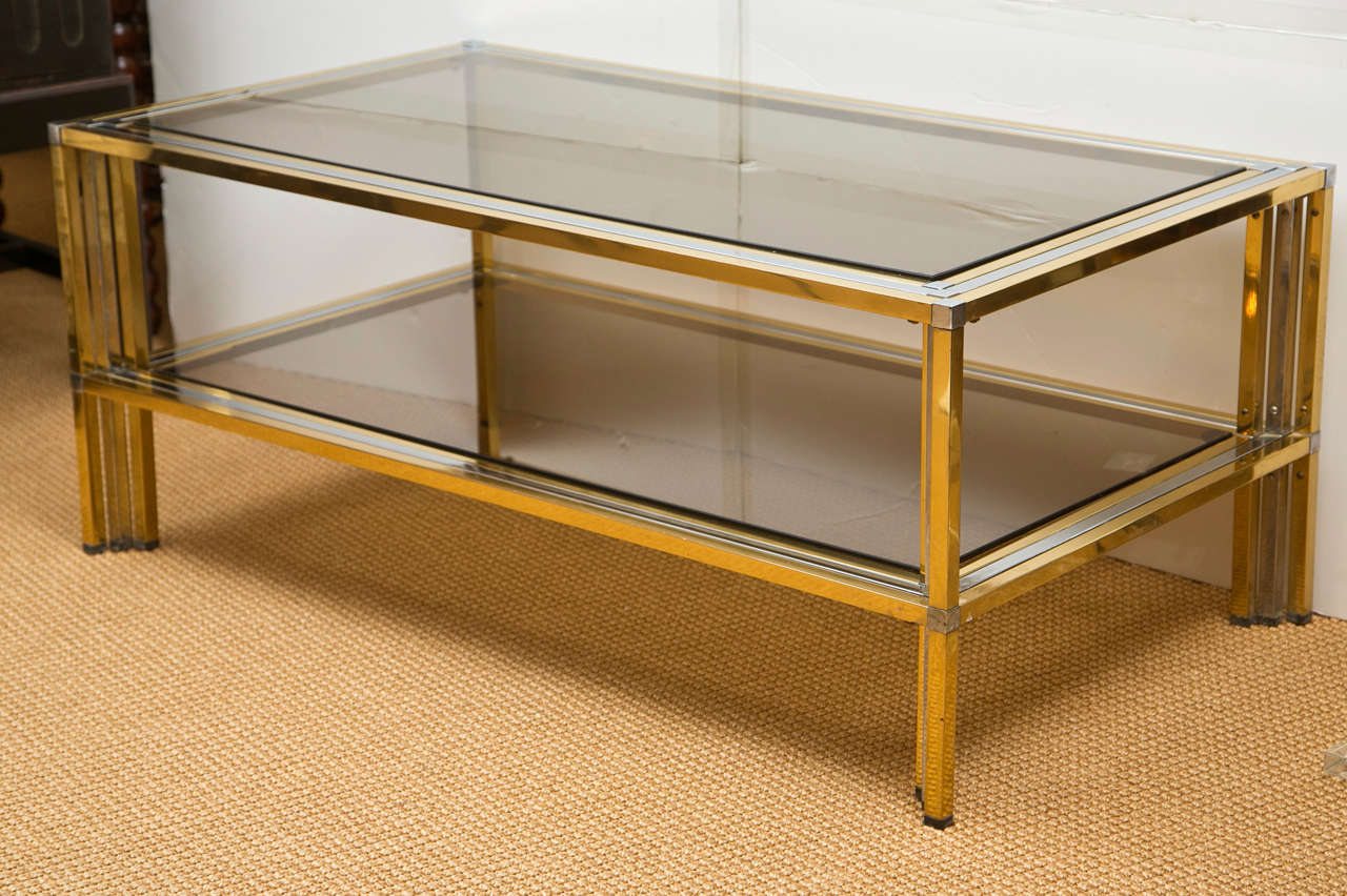 1970s French Brass and Chrome Rectangular Cocktail Table 3