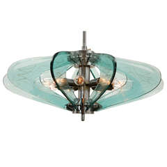 Fontana Arte style Glass And Chrome Chandelier.
