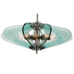 Fontana Arte style Glass And Chrome Chandelier.