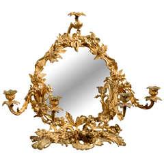 19th C French Decorative Bronze Mirror and Candelabra