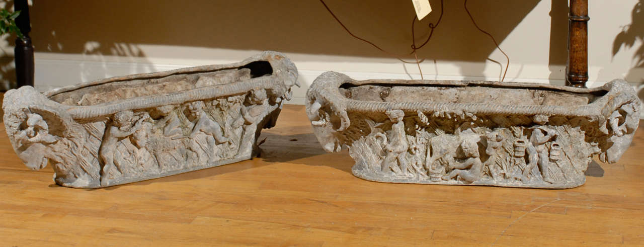 Pair of Rare 18th Century French Cast Iron Planters In Distressed Condition For Sale In Atlanta, GA