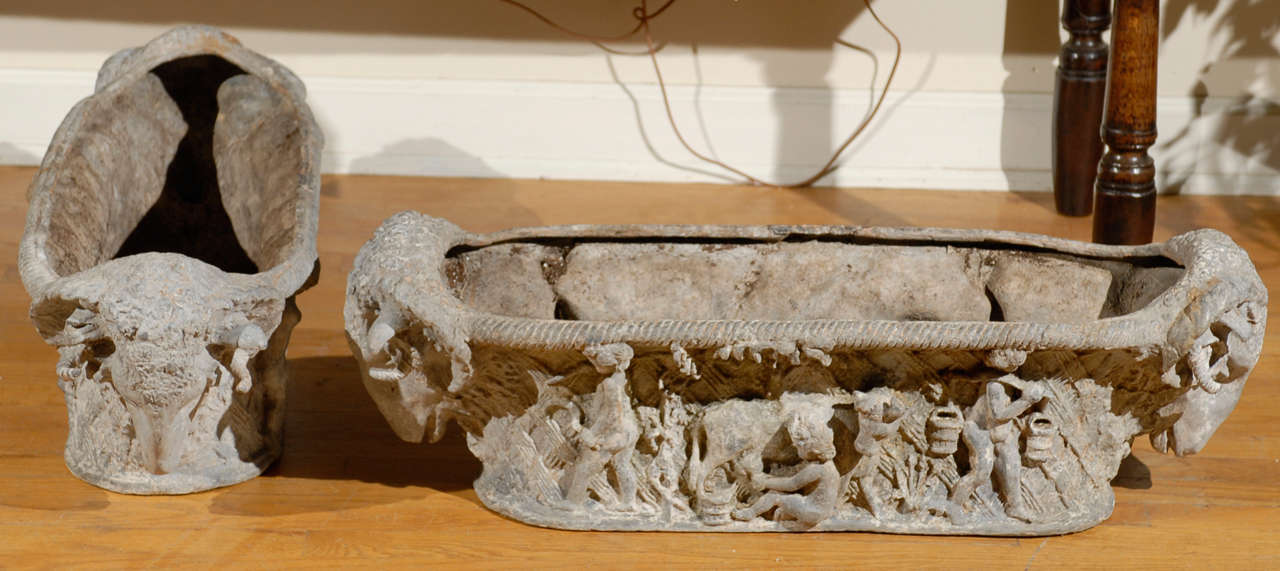 Pair of Rare 18th Century French Cast Iron Planters For Sale 2