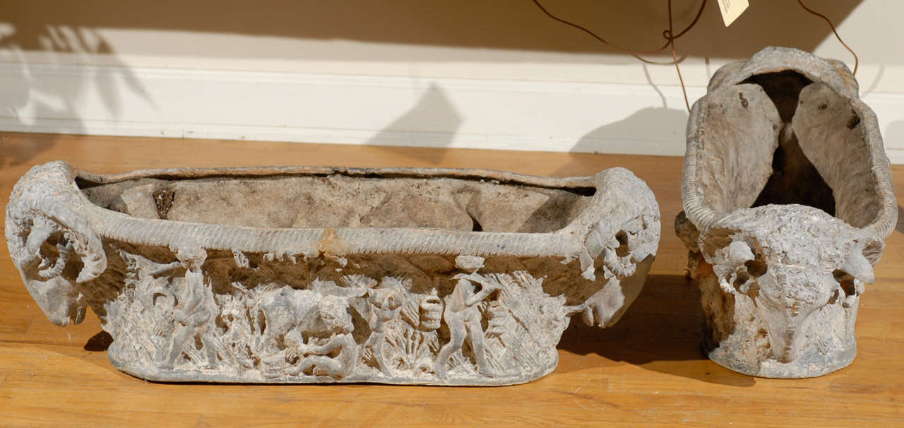 Pair of Rare 18th Century French Cast Iron Planters For Sale 3