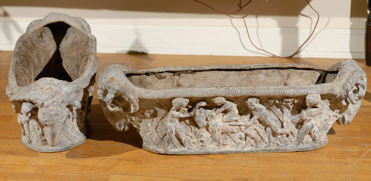 Pair of Rare 18th Century French Cast Iron Planters For Sale 4