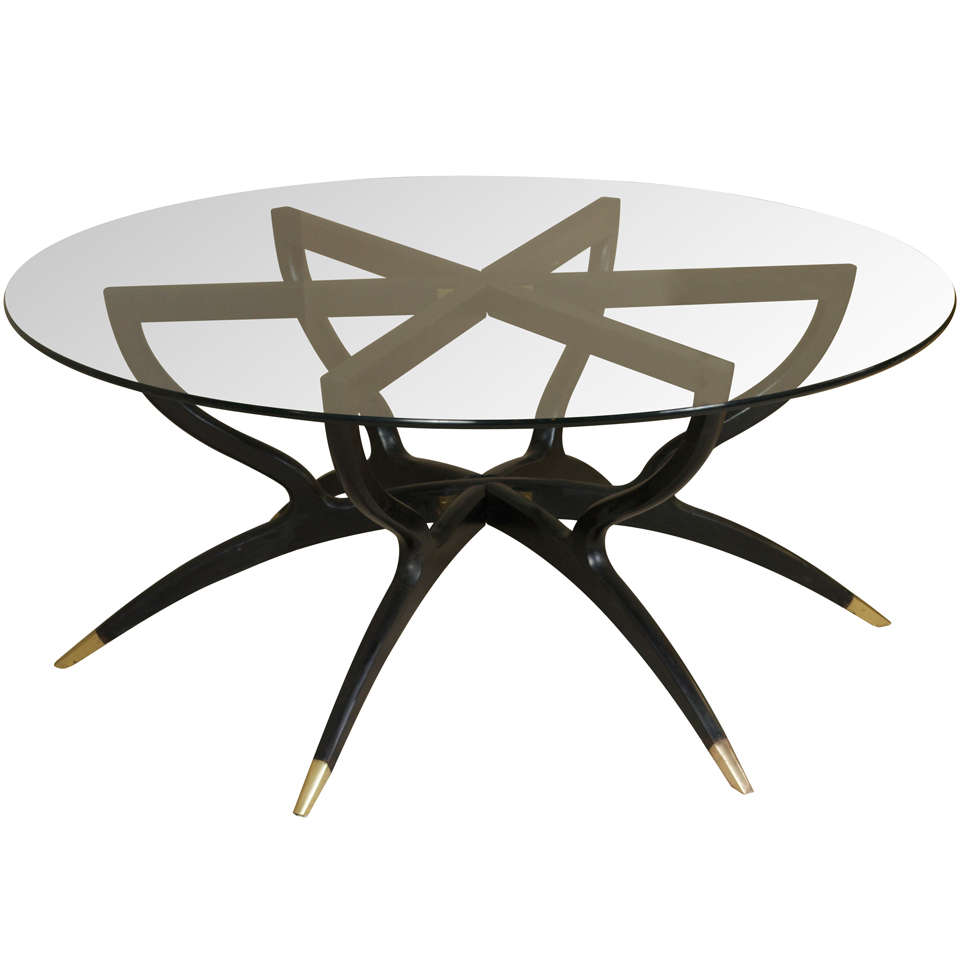 Italian Ebonized Wood And Glass Top Cocktail Table At 1stdibs