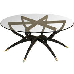 Italian Ebonized Wood and Glass-top Cocktail Table