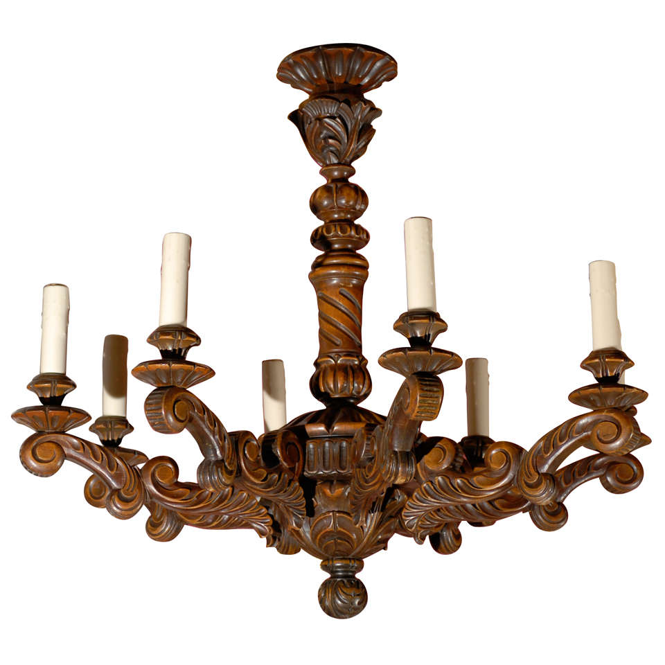 Antique Chandelier Hand Carved French Wooden For