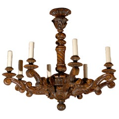 Antique Chandelier. Hand Carved French Wooden Chandelier