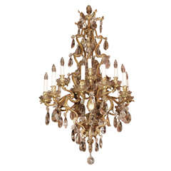 Antique French crystal and bronze d'ore 20-light chandelier