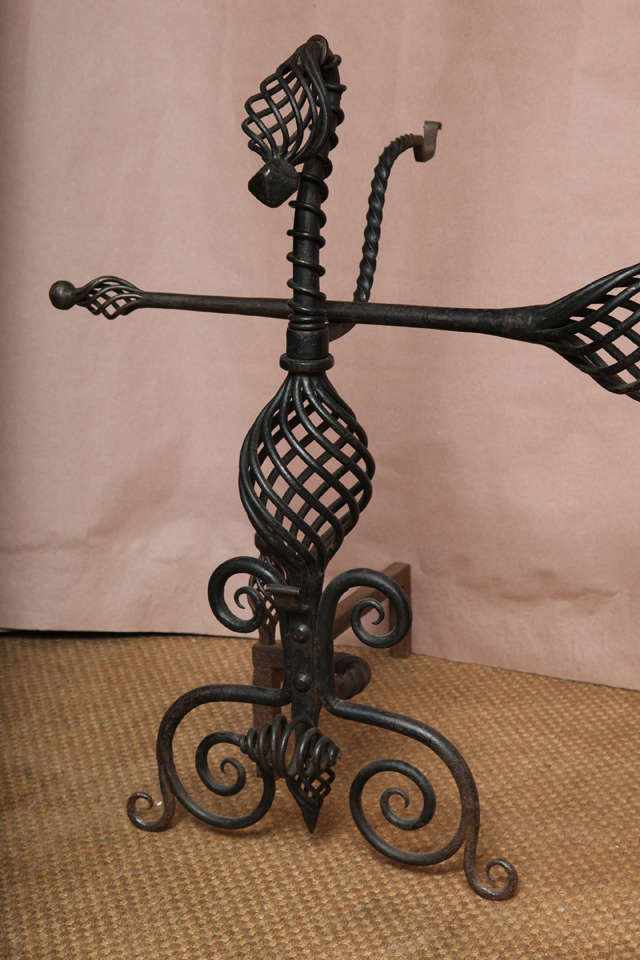 Pair of Arts and Crafts Wrought Iron Andirons In Good Condition For Sale In New York, NY