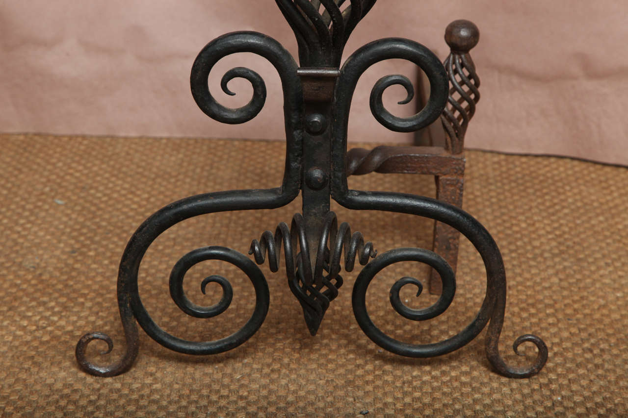 20th Century Pair of Arts and Crafts Wrought Iron Andirons For Sale