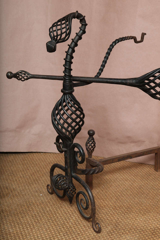 Pair of Arts and Crafts Wrought Iron Andirons For Sale 1