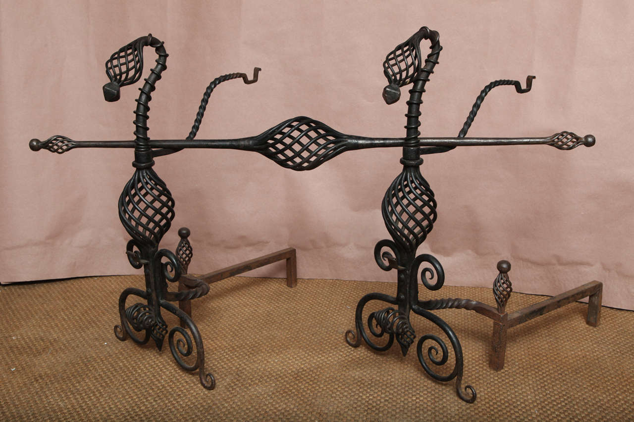 Pair of Arts and Crafts Wrought Iron Andirons For Sale 3