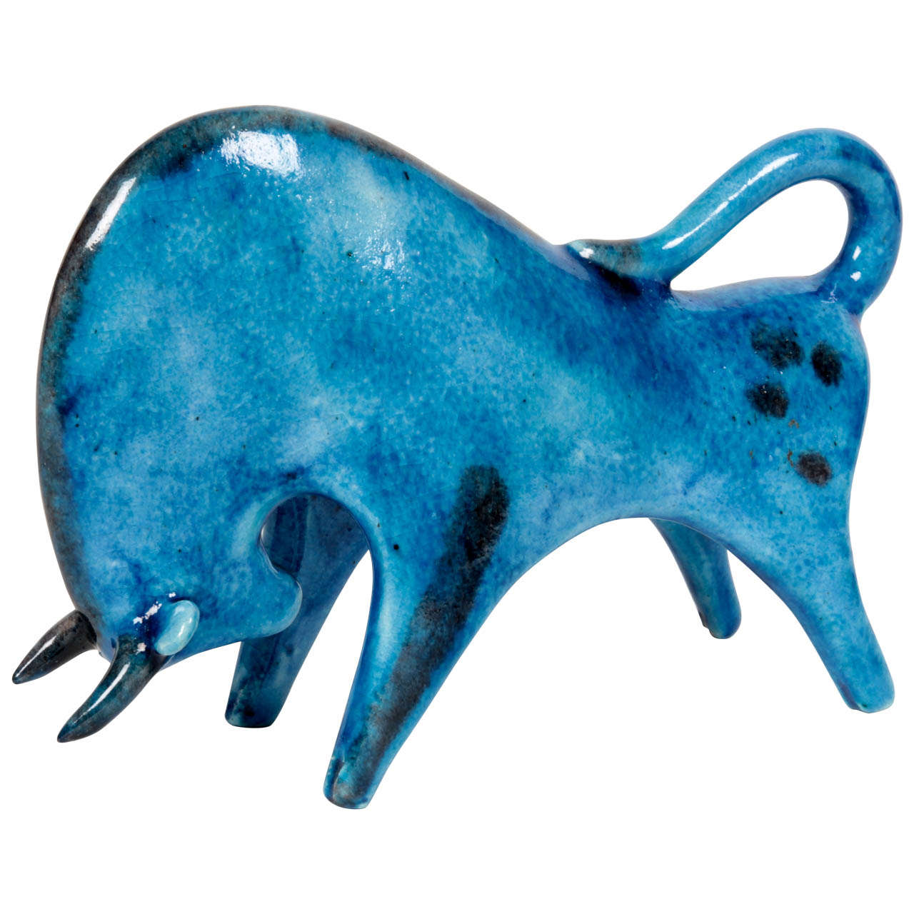 Guido Gambone Italian Blue Glazed Pottery Quot Bull Quot Sculpture