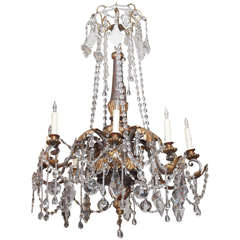 18th C. Gilt And Painted Wood With Iron And Crystal Chandelier