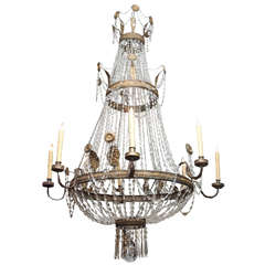 Early 19th c. Empire Chandelier of stamped brass and crystal