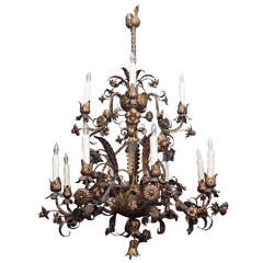 18th Century Italian Hand-Wrought Gilt Iron Chandelier