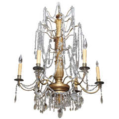 Italian Genovese Chandelier with Gilt Iron Arms And Wood Stem