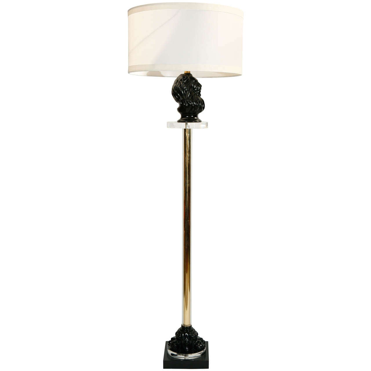 Hollywood regency black lion floor lamp at 1stdibs for Retro hollywood floor lamp