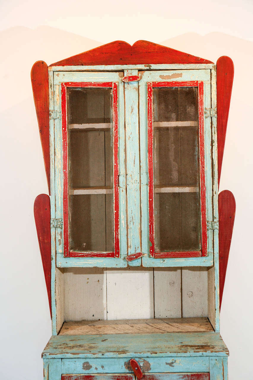 Folk Art Painted New Mexican Trastero 'Cupboard/Cabinet,' circa 1890-1910 For Sale