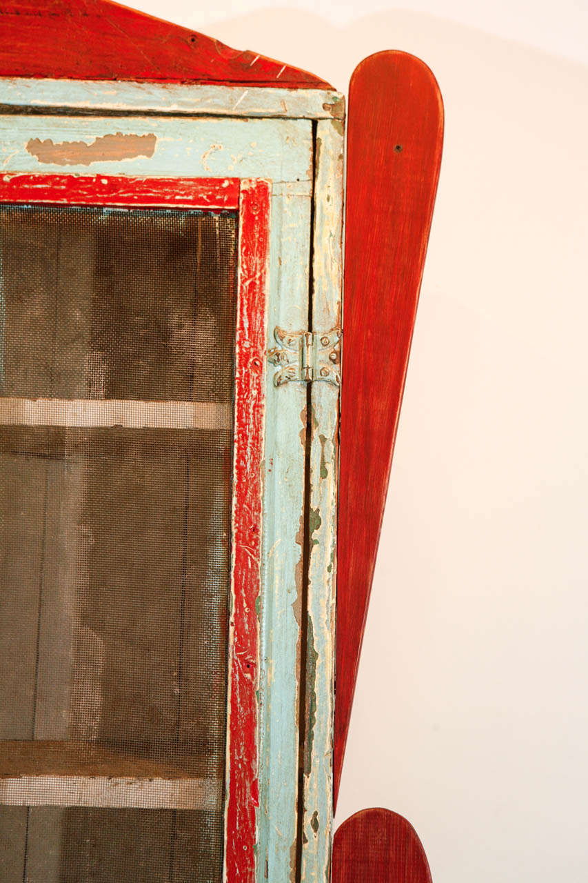 Painted New Mexican Trastero 'Cupboard/Cabinet,' circa 1890-1910 In Fair Condition For Sale In Van Nuys, CA
