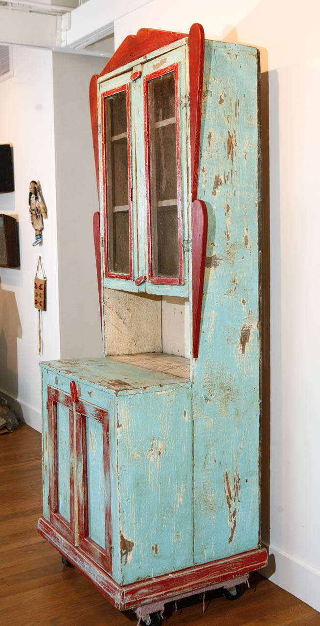 19th Century Painted New Mexican Trastero 'Cupboard/Cabinet,' circa 1890-1910 For Sale