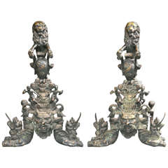 Bronze Figural Andirons-Mythical with Lions/Dragons