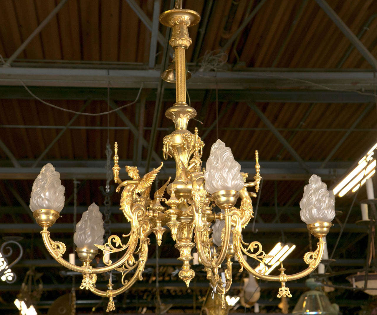 Items Similar To Lighting Rustic Chandelier Vintage 1920 S: 1920's Antique Bronze Goddess Chandelier At 1stdibs