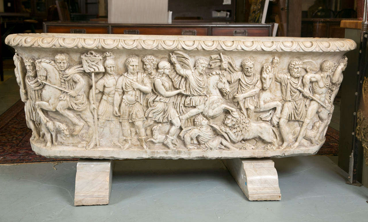 Vintage Roman Sarcophagus Style Marble Bath Tub For Sale at 1stdibs