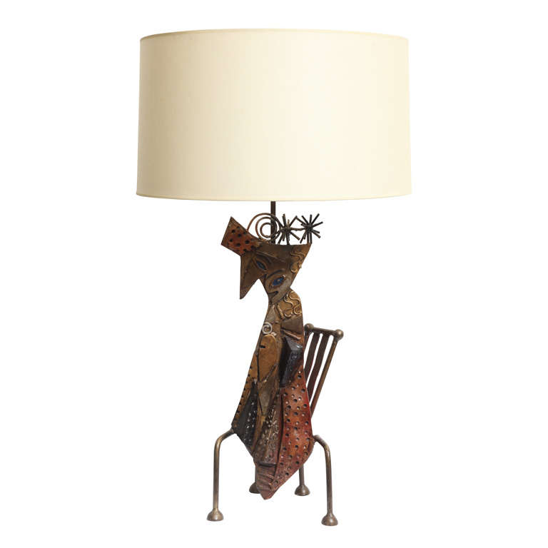 Handcrafted Iron Sculptural Table Lamp of Cat on Chair
