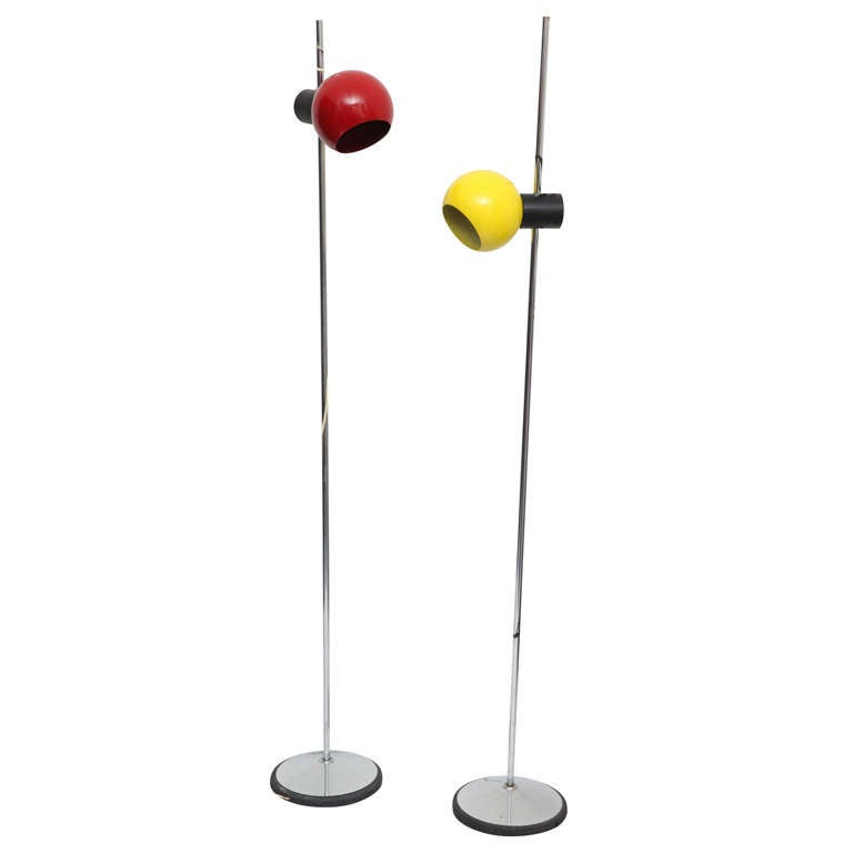 Pair of Italian Articulated Floor Lamps by Regiani For Sale