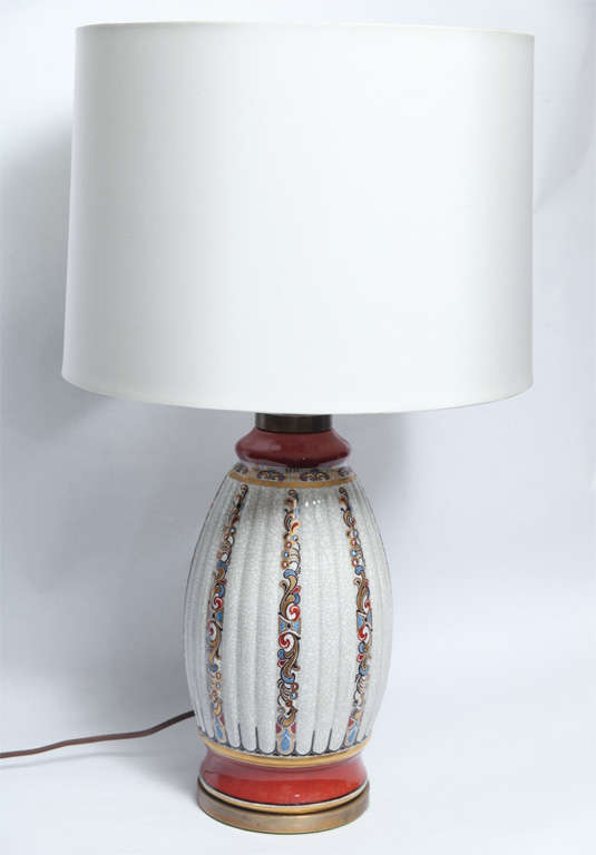A pair of Art Deco porcelain table lamps Dal-Jensen Copenhagen New sockets and rewired shades not included.