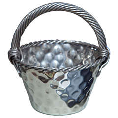 Vintage French Silver Plated Dimpled Basket