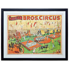 Whimsical and Bright Framed Original 1950s Circus Poster