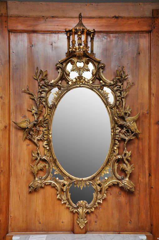 Large chinese chippendale style mirror circa 1860 at 1stdibs for Asian style mirror
