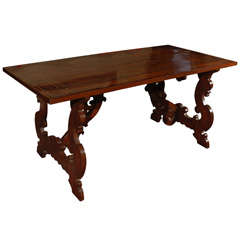 Tuscan Trestle Table with Inlaid Top