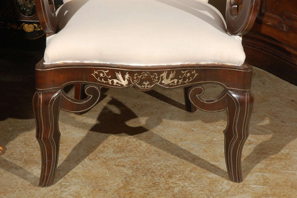 Pair of 19th Century Steel Inlaid Armchairs 3