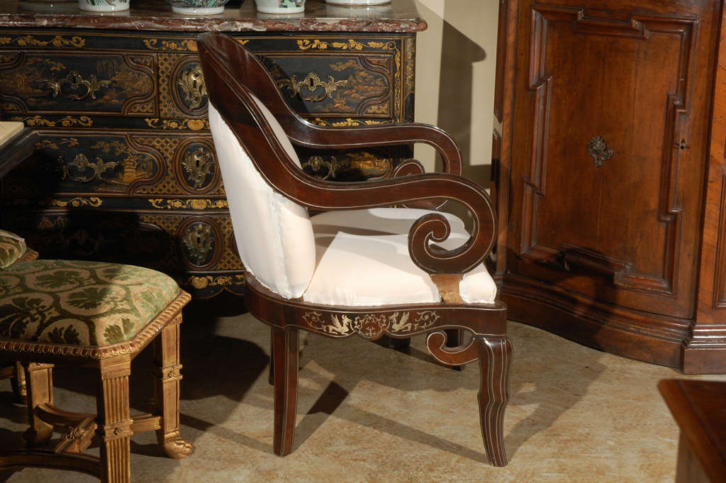 Pair of 19th Century Steel Inlaid Armchairs 5