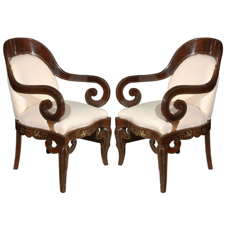 Pair of 19th Century Steel Inlaid Armchairs 1