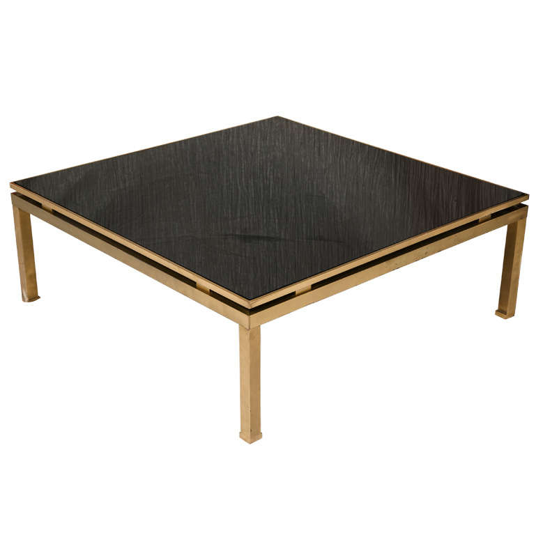 Square Gilt Brass Coffee Table With Black Colored Glass Top At 1stdibs