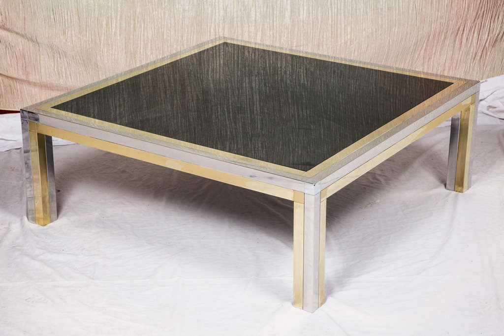 Brass And Chrome Low Square Coffee Table With Black Colored Glass At 1stdibs
