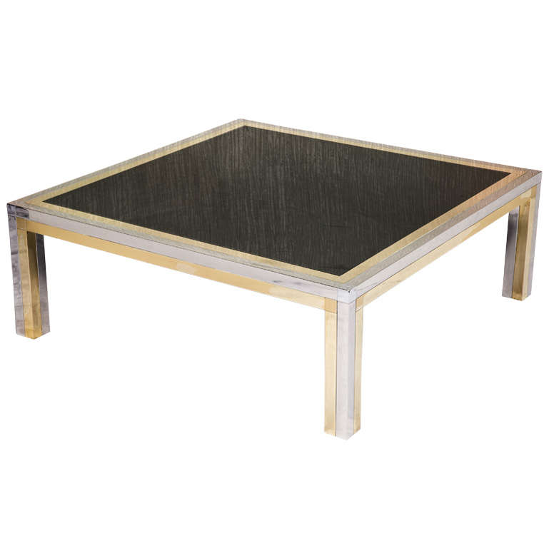 Brass And Chrome Low Square Coffee Table With Black Colored Glass At