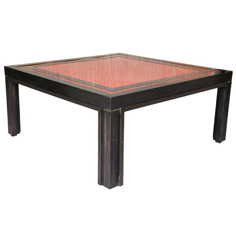 a square black and red brass coffee table by liwan 39 s at