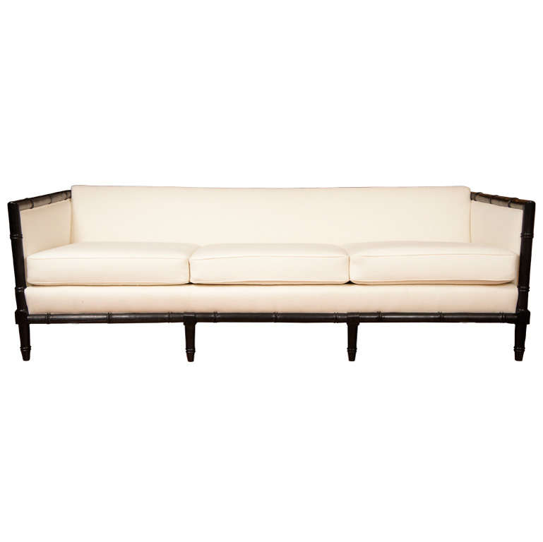 mid century bamboo style sofa at 1stdibs. Black Bedroom Furniture Sets. Home Design Ideas