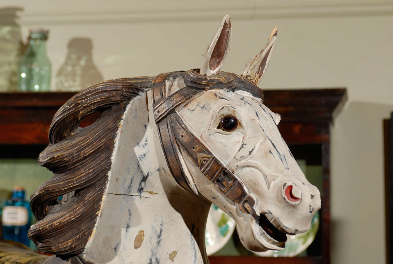 Antique French Painted Carousel Horse At 1stdibs