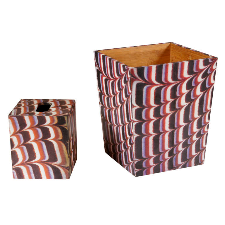 A Decoupage Waste Basket and Tissue Box