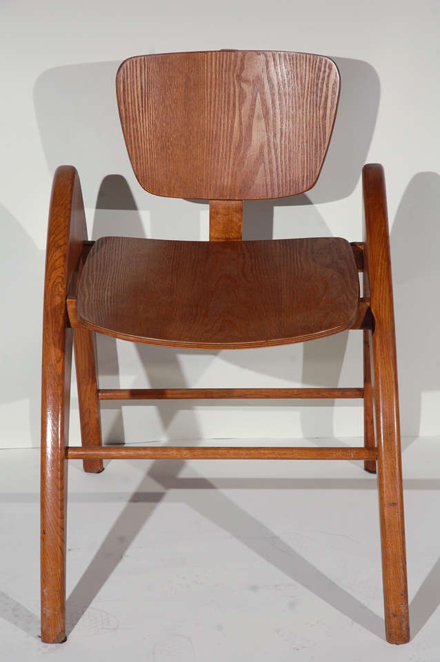 stylized modernist hand made wood side chair